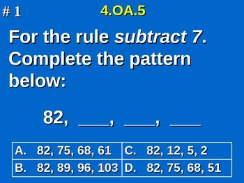 4th Grade Common Core Math - 4.OA.5 Generate Number Patterns That Follow A Rule