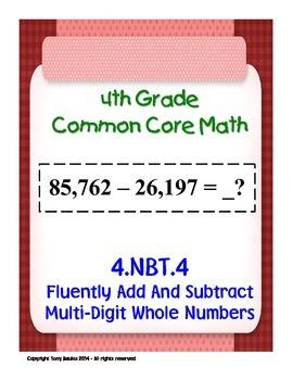 4th Grade Common Core Math - Add Subtract Multi-Digit Whol