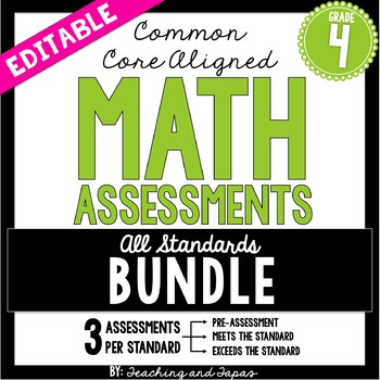 4th Grade Common Core Math Assessment - BUNDLE
