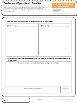 4th Grade Common Core Math Assessment - Numbers and Operations