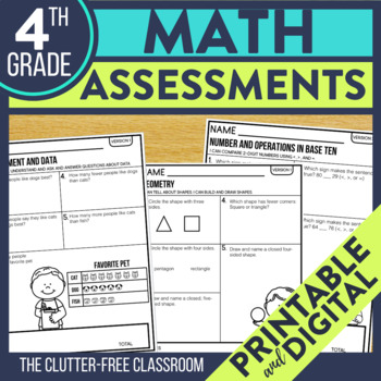 4th Grade  Math Assessments   Progress Monitoring   Quick Checks   Data Tracking
