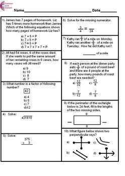 4th Grade Common Core Math Assessment SHORT Form A (10 Que