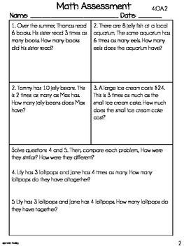 4th Grade Common Core Math Assessments