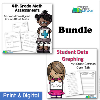 4th Grade Common Core Math Assessments and Student Data Graphing {Bundled}