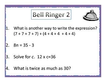 4th Grade Common Core Math Bell Ringers