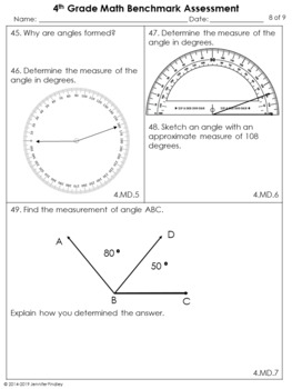 4th Grade Common Core Math Benchmark Assessment {All Standards}