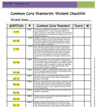 4th Grade Common Core Math PreTest: PreTest/PostTest Benchmark