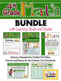 4th Grade Math Bundle with Learning Goals and Marzano Scales - EDITABLE