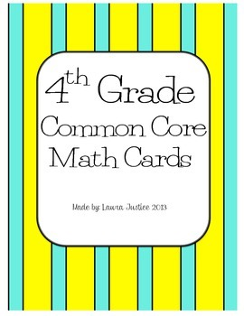 4th Grade Common Core Math Cards- Operations and Base Ten
