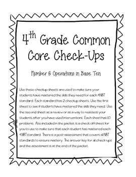 4th Grade Common Core Math Check-Ups--4.NBT