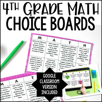 4th Grade Math Choice Boards - Google Classroom Included for Distance Learning