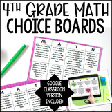 4th Grade Math Choice Boards - Google Slides Included for Distance Learning