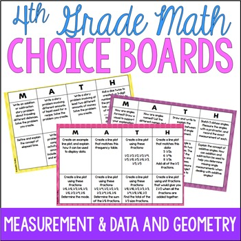 4th Grade Common Core Math Choice Boards {Measurement and Geometry}