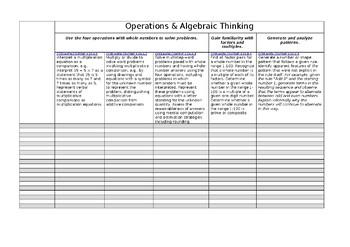 4th Grade Common Core Math Class Spreadsheet