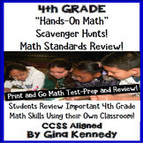 4th Grade Math Test-Prep, Review All Standards with Hands-on Scavenger Hunts!