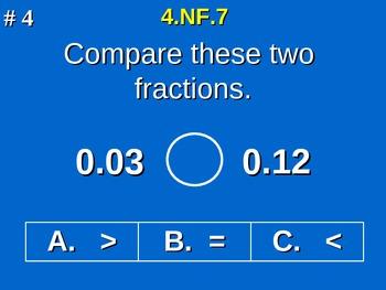 4th Grade Common Core Math - Compare Two Decimals to Hundredths 4.NF.7