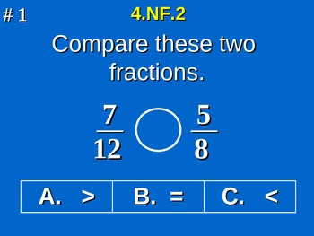 4th Grade Common Core Math - Compare Two Fractions 4.NF.2