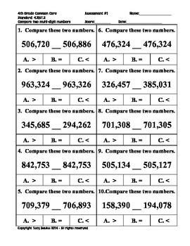 4th Grade Common Core Math - Compare Two Multi-Digit Numbers 4.NBT.2 PDF