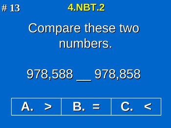 4th Grade Common Core Math - Compare Two Multi-Digit Numbers 4.NBT.2