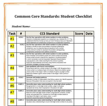 Constructed Response Portfolio Assessment 4th Grade CCS
