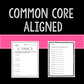 Math Exit Slips Assessments Fractions and Decimals 4th Grade Common Core
