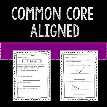 Math Exit Slips or Assessments Geometry and Angles 4th Grade Common Core