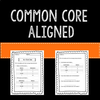Math Exit Slips Assessments Measurement 4th Grade Common Core