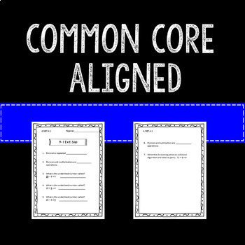 Math Exit Slips Assessments Multiplication Division 4th Grade Common Core