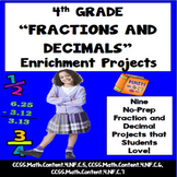 4th Grade Fractions and Decimals Enrichment Projects, Voca