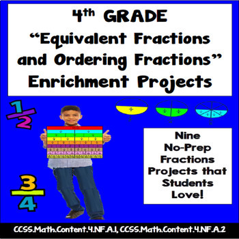 4th Grade Equivalent and Ordering Fractions Enrichment Projects