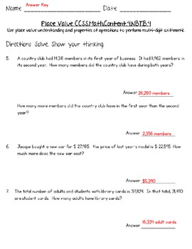 4th Grade Common Core - Math - Estimating, Addition and Subtraction Worksheets