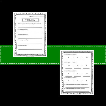 Math Review Exit Slips Assessments 3rd Grade to 4th Grade Common Core
