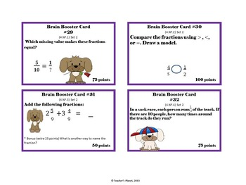 4th Grade Common Core Math  Brain Booster/Task Cards Fractions Set 2