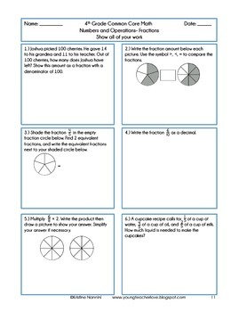 4th Grade Common Core Math Review or Homework Problems {Fractions}