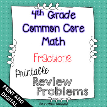 4th Grade Common Core Math Review or Homework Problems Fractions Test Prep