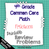 4th Grade Common Core Math Review or Homework Problems Fractions - Google Slides