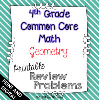 4th Grade Common Core Math Review or Homework Problems Geometry Test Prep