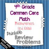 4th Grade Math Review or Homework Problems Measurement and Data MD