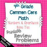 4th Grade Math Review or Homework Problems- Numbers and Operations Base Ten NBT