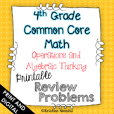 4th Grade Math Review or Homework Problems Operations and Algebraic Thinking OA