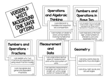 "4th Grade Common Core Math ""I CAN"" Statements"
