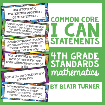 "4th Grade Common Core Math ""I CAN"" Statements"