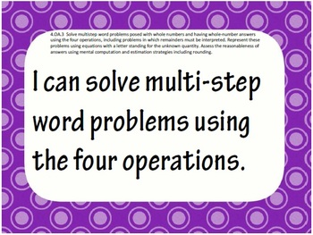 4th Grade Common Core Math I CAN statement posters (94 pages!) Polka Dot Theme