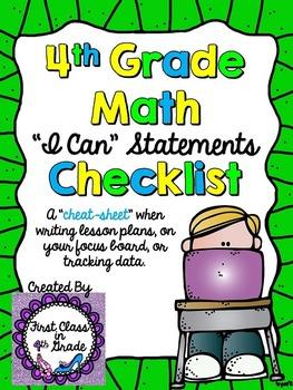 """4th Grade Common Core Math """"I Can"""" Checklist (Ink Saver)"""