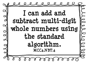 """4th Grade Common Core Math Standards """"I Can"""" Posters"""