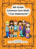 "4th Grade Common Core Math ""I Can Statements"""