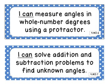"4th Grade Common Core Math ""I Can"" Statements - 2 color options - blue and grey"