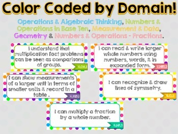 """4th Grade Common Core Math """"I Can"""" Statements (Polka Dots)"""
