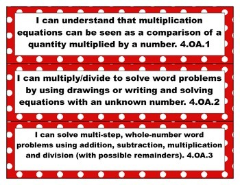 4th Grade Common Core Math I Can Statements- Red/White/Polka Dot Theme