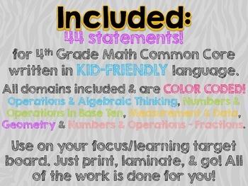 """4th Grade Common Core Math """"I Can"""" Statements (Zebra)"""